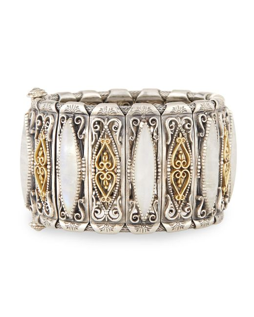 Konstantino - White Erato Labrardorite Doublet Filigreed Cuff Bracelet - Lyst