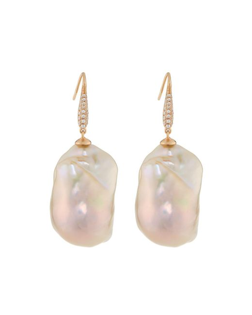 Belpearl - Multicolor 18k Baroque Pearl & Diamond Pave Drop Earrings - Lyst