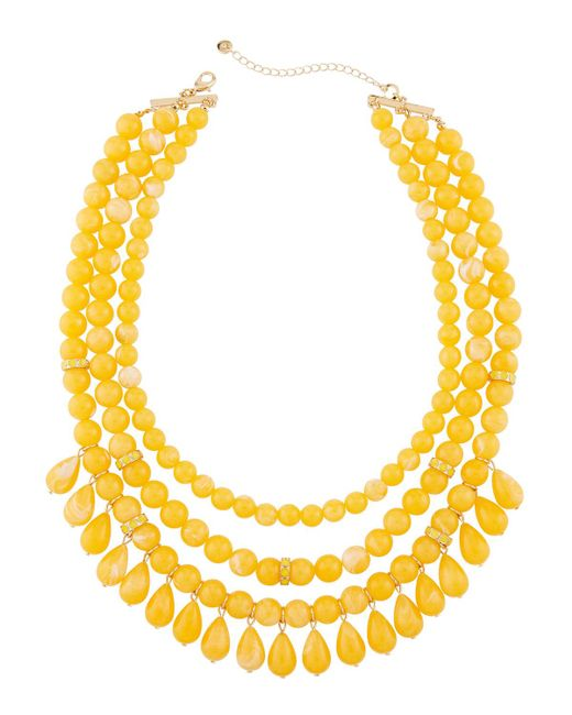 Lydell NYC - Yellow Multi-row Beaded Statement Necklace W/ Dangles for Men - Lyst