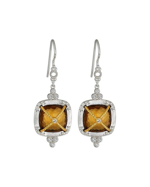 Jude Frances | Metallic Wrapped Cushion Citrine Dangle & Drop Earrings | Lyst