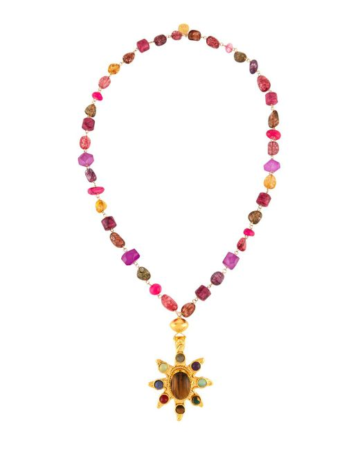 Devon Leigh | Multicolor Long Multihued Beaded Sunburst Pendant Necklace | Lyst