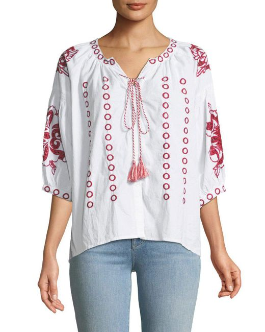 Neiman Marcus - White Eyelet Embroidered Peasant Blouse - Lyst