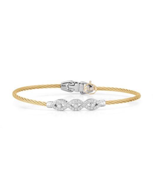 Alor - Yellow 18k Gold Triple Diamond Cable Bangle - Lyst