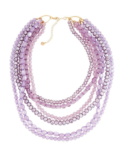 Lydell NYC - Purple Multi-row Crystal Bead Necklace - Lyst