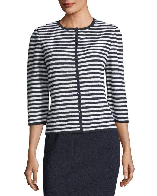 St. John Blue Two-toned Striped Knit Cardigan
