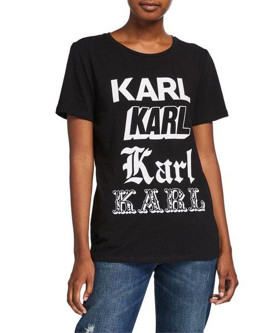 Karl Lagerfeld Black Newspaper Karl Tee