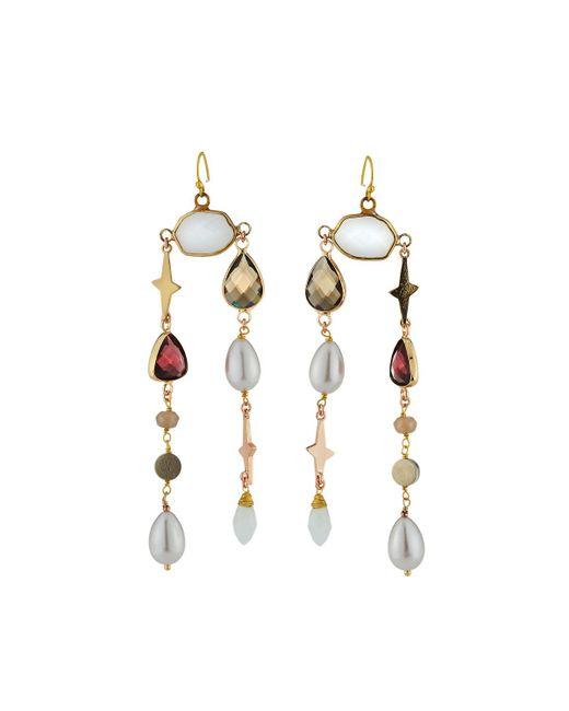 Nakamol - Purple Mixed Stone Dangle Earrings - Lyst