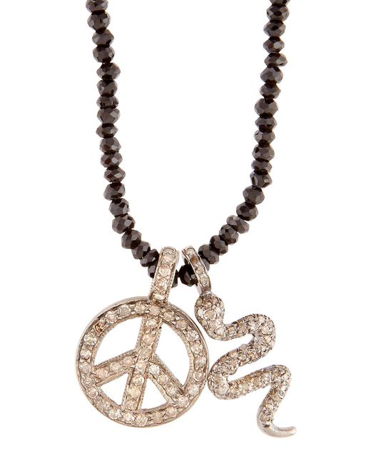 Bavna | Black Beaded Spinel Necklace W/ Pave Diamond Pendants | Lyst