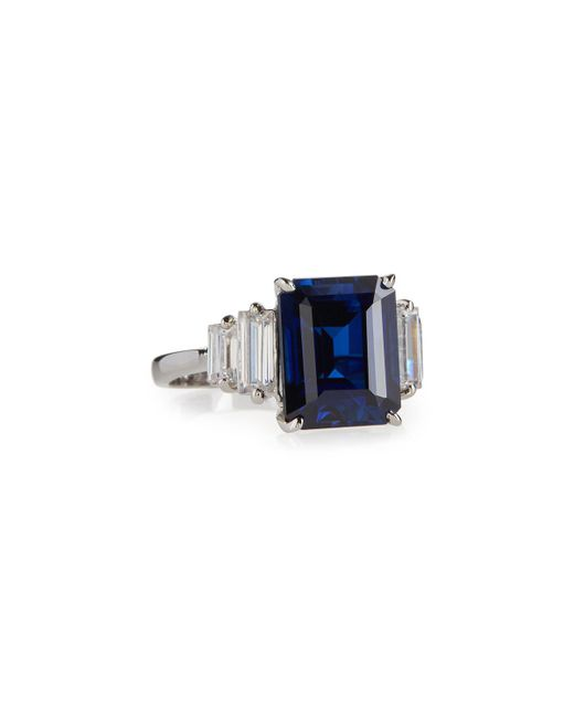 Fantasia by Deserio - Emerald-cut Simulated Sapphire Cocktail Ring Blue - Lyst