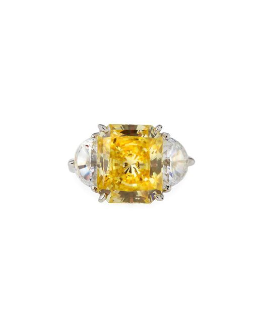 Fantasia by Deserio | Yellow Emerald-cut Canary Cubic Zirconia Ring | Lyst