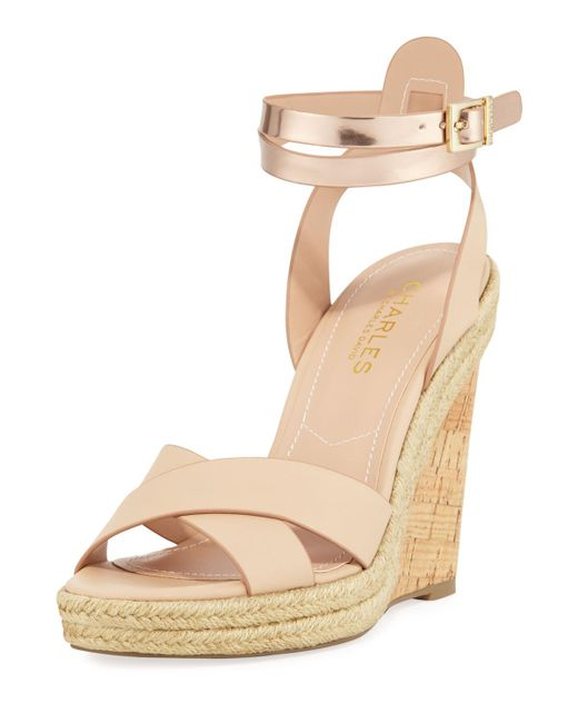 Charles David - Natural Brit Cork Wedge - Lyst