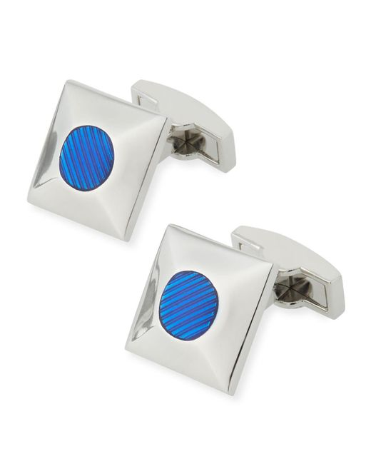 Bugatchi | Metallic Rhodium-plated Colored Glass Cuff Links for Men | Lyst