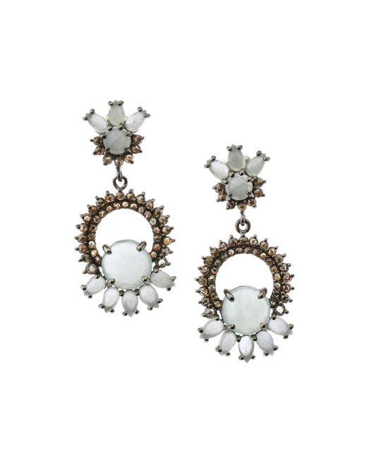 Bavna - Metallic Silver Drop Earrings With Champagne Diamonds & Multi-cut Aquamarine - Lyst