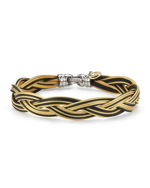 Alor - Braided Stainless Steel Micro-cable Bracelet Black/yellow - Lyst