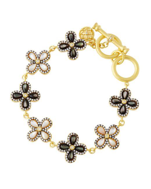 Freida Rothman | Metallic Pave Crystal & Iridescent Clover Station Bracelet | Lyst