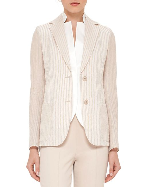 Akris - Natural Pick-stitched Two-button Jacket - Lyst