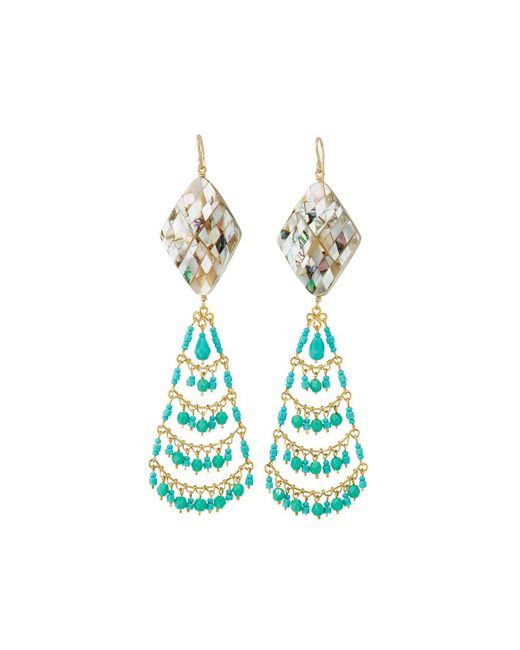 Devon Leigh - Blue Turquoise & Pearly Chandelier Earrings - Lyst