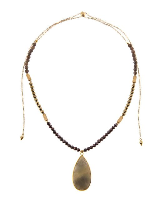 Panacea | Gray Adjustable Beaded Labradorite Pendant Necklace | Lyst