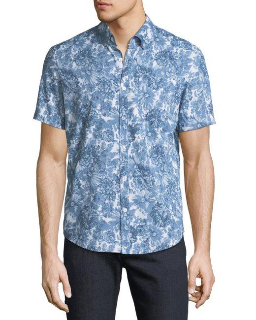 Original Penguin - Blue Men's Floral Short-sleeve Sport Shirt for Men - Lyst