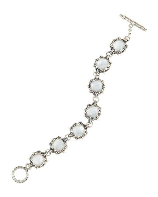 Konstantino | White Aura Crystal & Mother-of-pearl Link Bracelet | Lyst