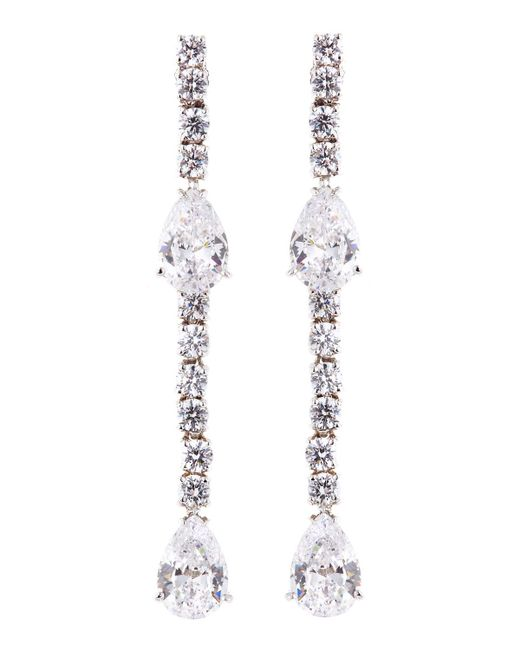 Fantasia by Deserio | Multicolor Cz Round And Pear-cut Linear Earrings | Lyst