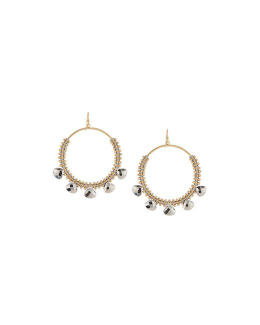 Panacea - Gray Hematite Crystal Hoop Earrings - Lyst