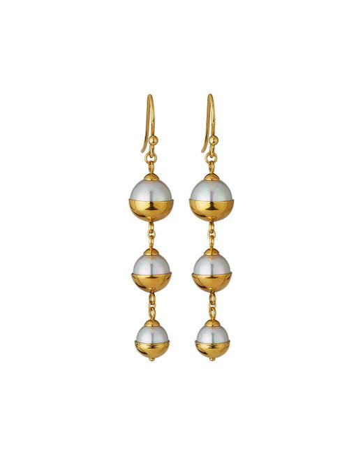 Majorica   White Graduated Triple-pearl Dangle Earrings   Lyst