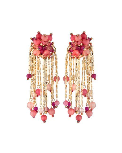 Lydell NYC - Pink Beaded Chain Tassel Earrings - Lyst