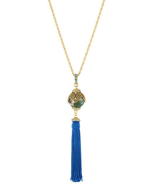 Jose & Maria Barrera - Blue Enamel Cloisonné Tassel Pendant Necklace - Lyst