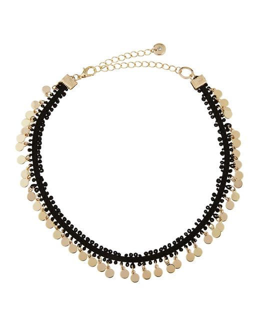 Lydell NYC | Metallic Fabric Choker W/ Golden Disc Drops | Lyst