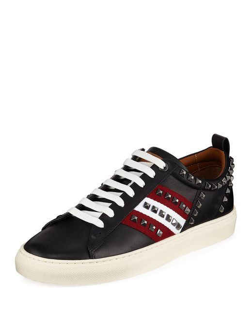 Bally - Black Men's Hedern Studded Leather High-top Sneakers for Men - Lyst