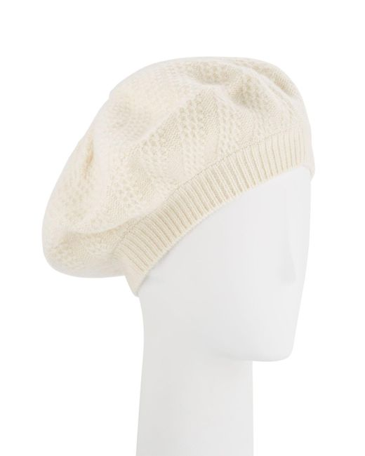 Sofia Cashmere - White Honeycomb Textured Knit Beret - Lyst