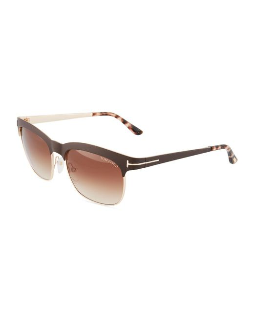 Tom Ford - Brown Square Metal Sunglasses - Lyst