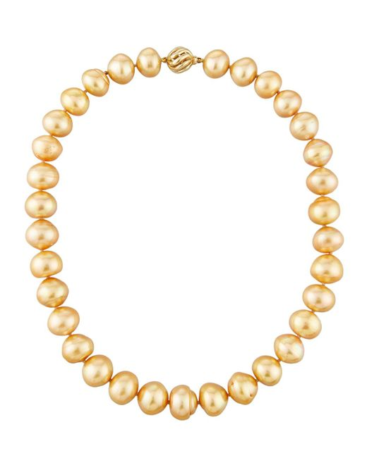Belpearl | Metallic 14k Graduated Golden Button South Sea Pearl Necklace | Lyst