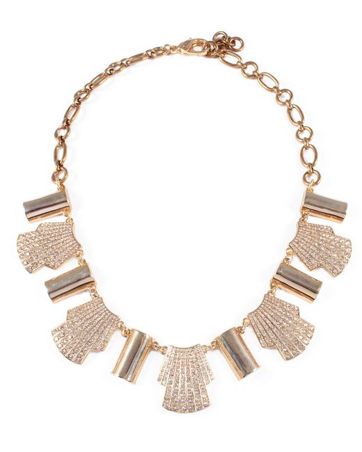 Lulu Frost - Metallic Deco Shell Necklace W/ Crystals - Lyst