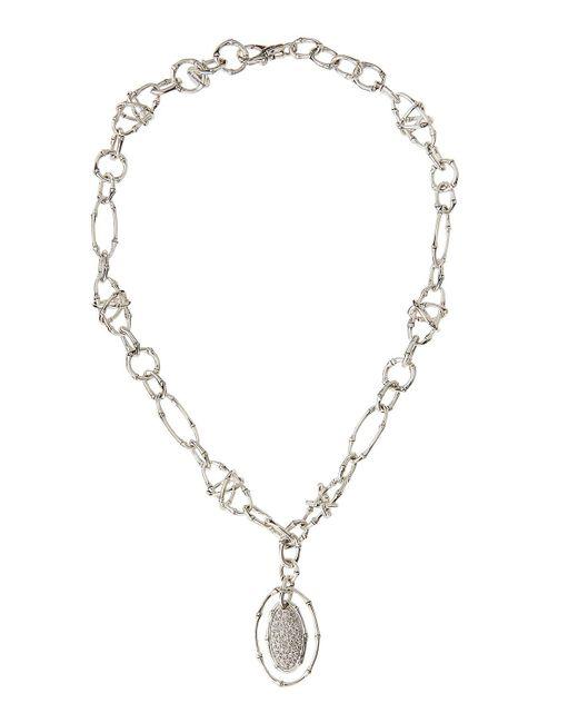 John Hardy - Metallic Bamboo Pave Diamond Oval Pendant Necklace - Lyst