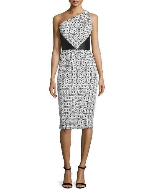 THEIA | Black One-shoulder Mixed-pattern Sheath Dress | Lyst