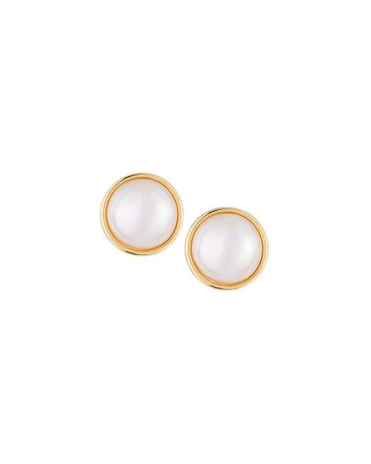 Majorica - White 14mm Simulated Mabe Pearl Stud Earrings - Lyst