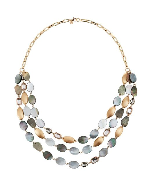 Lydell NYC Metallic Layered Stone & Disc Necklace