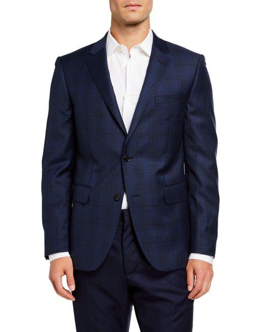 Neiman Marcus Blue Men's Wool Plaid Sport Coat for men