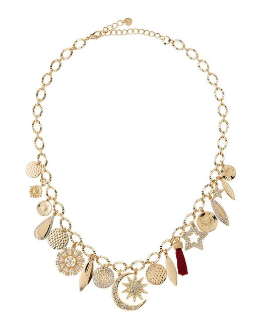 Lydell NYC | Metallic Mixed Charm Necklace W/ Crystals | Lyst