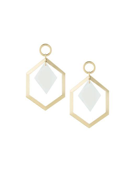 Fragments - White Geometric Shell Drop Earrings - Lyst
