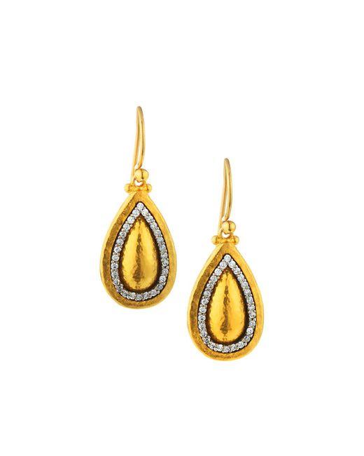 Gurhan - Metallic 24k Domed Pear Drop Earrings W/ Diamonds - Lyst