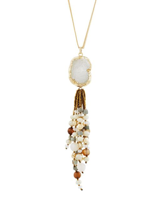 Lydell NYC | Metallic Golden Druzy Pendant Tassel Necklace | Lyst