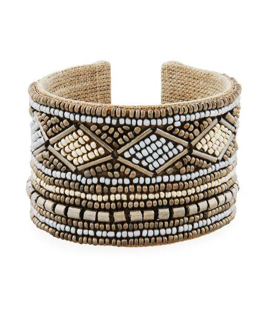 Nakamol   Gray Wide Mixed Seed Bead Cuff Bracelet   Lyst