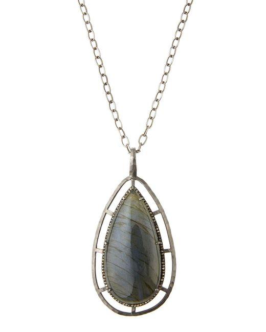 Bavna | Metallic Teardrop Labradorite & Champagne Diamond Pendant Necklace | Lyst