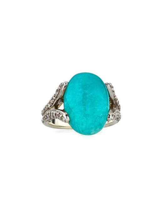 John Hardy - Blue Classic Chain Amazonite Ring With Diamonds - Lyst