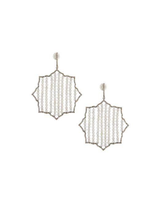 Bavna   Metallic Geometric Diamond & Labradorite Beaded Drop Earrings   Lyst