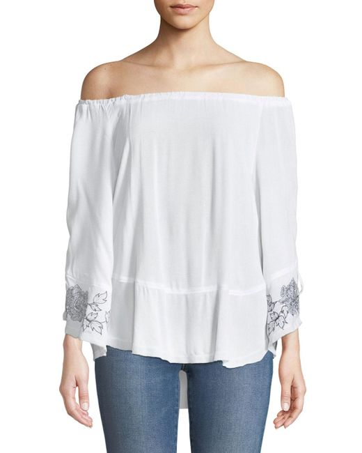 XCVI - White Off-the-shoulder Lace-up Sleeve Blouse - Lyst