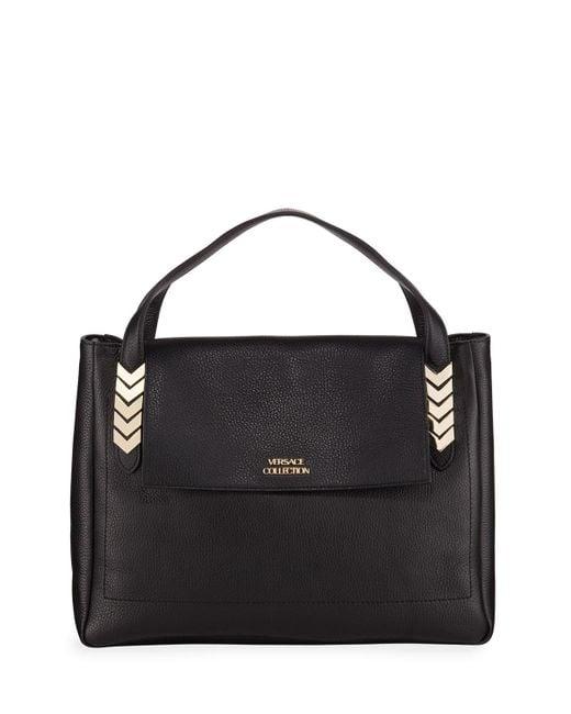 Versace - Black V-handle Leather Shoulder Bag - Lyst ... f23542951c313